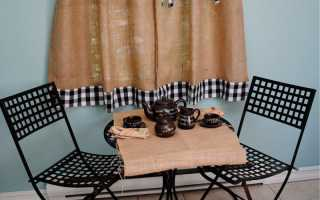 Сочетание классических штор со шторами кафе