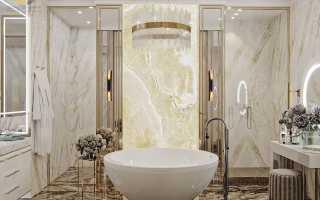 Отдельностоящая ванна в интерьере